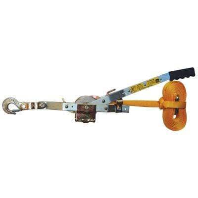 2,000 lb. 1-Ton Capacity 25 ft. Max Lift 10:1 Leverage Web Strap Puller Come Along Tool