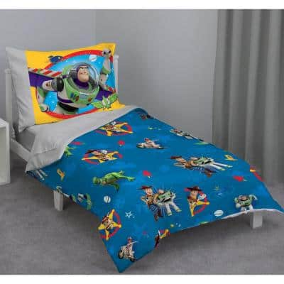 Toy Story 4 Play Time Multicolor 4-Piece Toddler Bed Set with Comforter, Flat Top Sheet, Fitted Bottom Sheet, Pillowcase