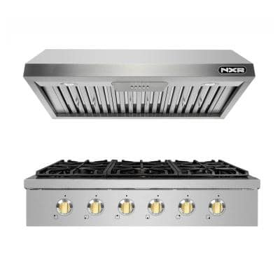 Entree Bundle 36 in. Professional Style Gas Cooktop with 6 Burners and Range Hood in Stainless Steel and Gold