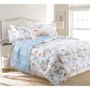 Beach Club 2-Piece Multicolored Twin Quilt Set