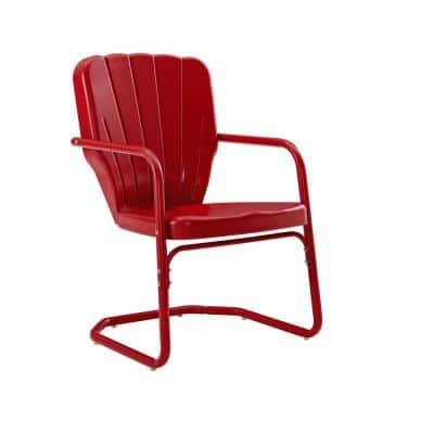 Ridgeland Red Metal Outdoor Lounge Chair