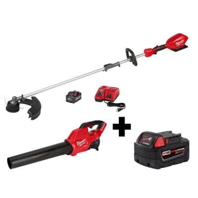 M18 FUEL QUIK-LOK 18-Volt Lithium-Ion Brushless Cordless String Trimmer Kit with M18 Blower and 5.0 Ah Battery
