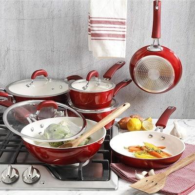 Arlington 12-Piece Aluminum Ceramic Nonstick Cookware Set in Red