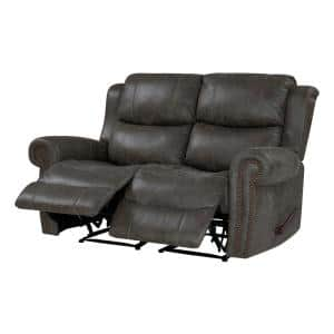 60.5 in. Distressed Fog Gray Polyester 2-Seater Reclining Loveseat with Nailheads