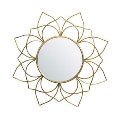 32.75 in. H x 32.75 in. W Oversized Modern Glam Gold Metal Wall Mirror