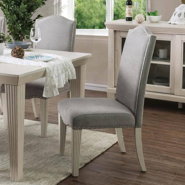 Furniture Of America Larkin Antique, White Upholstered Dining Room Chairs