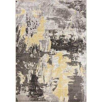 Skyline Grey 8 ft. x 10 ft. Watercolors Area Rug