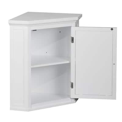 Simon 22-1/2 in. W x 24 in. H x 15 in. D Corner Bathroom Storage Wall Cabinet with Shutter Door in White