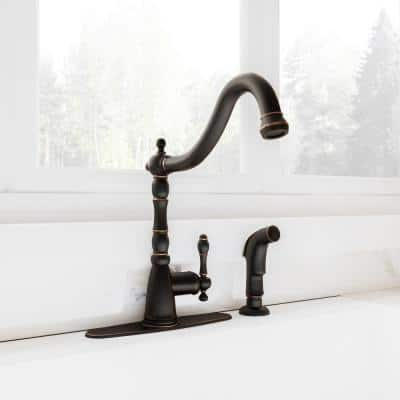 Oakmont Single-Handle Standard Kitchen Faucet with Side Sprayer in Oil Rubbed Bronze