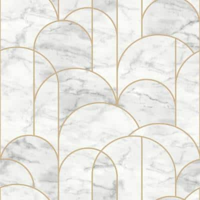 Arch Light Grey Geometric Paper Strippable Wallpaper (Covers 57.8 sq. ft.)