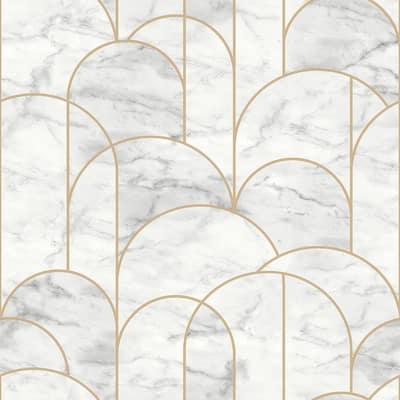 Arch Light Grey Geometric Light Grey Wallpaper Sample