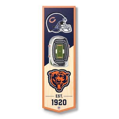 NFL Chicago Bears 6 in. x 19 in. 3D Stadium Banner-Soldier Field