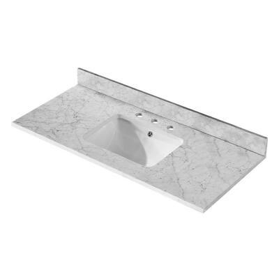 48 in. W x 22 in. D Marble Vanity Top in White