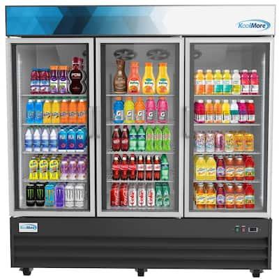78 in. 57.5 cu. ft. Commercial Three Glass Swing Door Merchandiser Refrigerator in Black