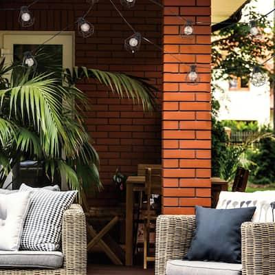 10-Light Sansa Outdoor/Indoor 10 ft. Plug-In LED String Lights, Round Vintage LED Bulbs Included