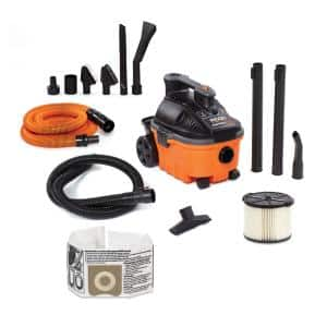 4 Gal. 5.0-Peak HP Portable Wet/Dry Shop Vacuum with Filter, Hose, Accessories and Premium Car Cleaning Kit