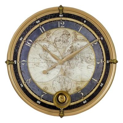 Ramona Gold Old Map Wall Clock