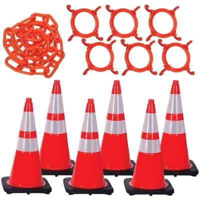 28 in. Traffic Orange Reflective Cone and Chain Kit