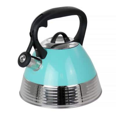 10-Cup Stainless Steel Whistling Tea Kettle in Turquoise