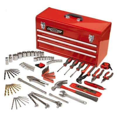 24 in. 3-Drawer Steel Tool Chest with Bonus Tool Set (118-Piece)