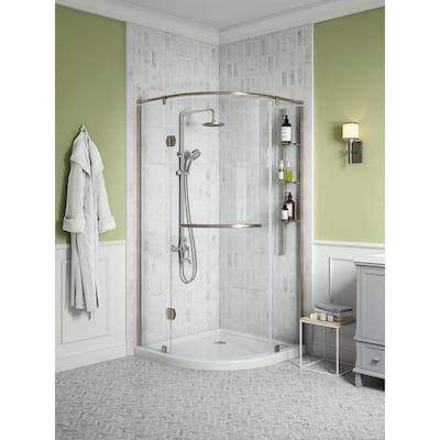 Glamour 38 in. x 73.90 in. Semi-Frameless Pivot Corner Shower Door in Satin Nickel with 38 in. x 38 in. Base in White