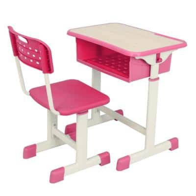 23.6 in. Adjustable Rectangle Pink Wood Student Desk and Chair Kit
