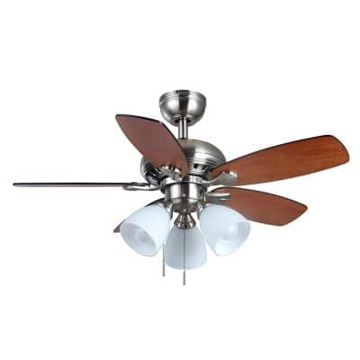 Luxenberg 36 in. Brushed Nickel LED Smart Ceiling Fan with Light Kit and Remote Works with Google Assistant and Alexa