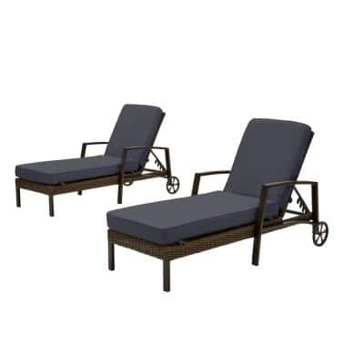 Whitfield Dark Brown Wicker Outdoor Patio Chaise Lounge with CushionGuard Midnight Navy Blue Cushions (2-Pack)