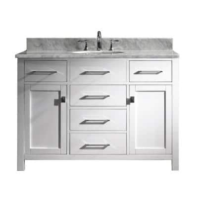 Caroline 49 in. W Bath Vanity in White with Marble Vanity Top in White with Round Basin
