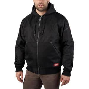 Men's Medium Black GRIDIRON Bomber Hooded Jacket