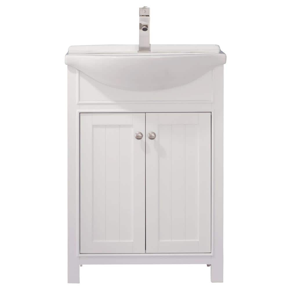 Design Element Marian 24 In W X 17 In D Bath Vanity In White With Porcelain Vanity Top In White With White Basin S05 24 Wt The Home Depot
