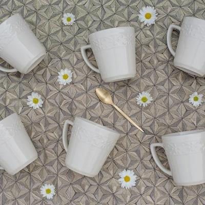 Mendi 12.17 oz. Ivory Earthenware Mugs (Set of 6)