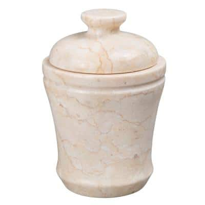Natural Champagne Marble Fluted Collection Cotton Ball Q-Tip Swab Holder Bathroom Countertop Storage Jar Organizer