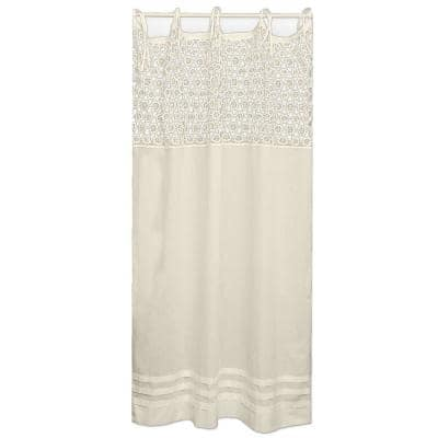 Crochet Envy Natural Cotton Light Filtering Curtain Panel - 45 in. W x 63 in. L