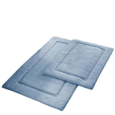 2-Pack Solid Loop Cotton 21x34 inch Bath Mat Set with non-slip backing Light Blue