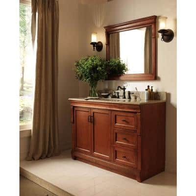Naples 36 in. W Bath Vanity Cabinet Only in Warm Cinnamon with Right Hand Drawers