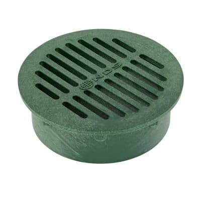6 in. Plastic Round Drainage Grate in Green