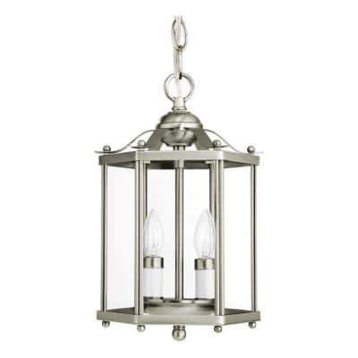 Bretton 2-Light Brushed Nickel Semi-Flush Mount Convertible Pendant with Dimmable Candelabra LED Bulbs