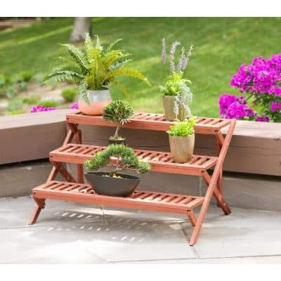 35 in. W x 20 in. H 3-Tier Wooden Step Plant Stand