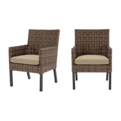 Fernlake Taupe Wicker Outdoor Patio Stationary Dining Chair with CushionGuard Putty Tan Cushions (2-Pack)