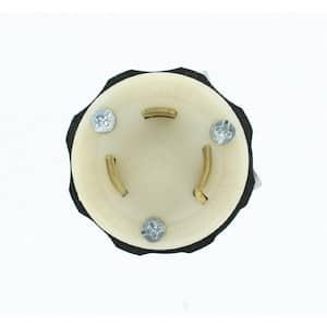 30 Amp 600-Volt Locking Grounding Plug, Black/White