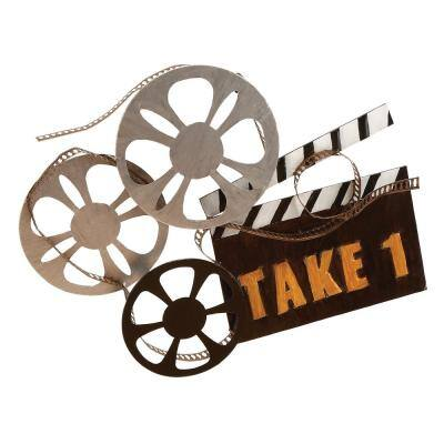 Iron Multicolored Movie Reels and Clapper Metal Work