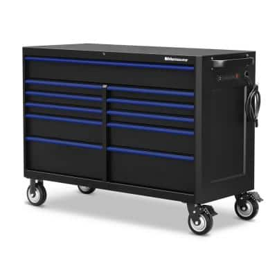 56 in. x 24 in. 11-Drawer Roller Cabinet Tool Chest with Power and USB Outlets in Black and Blue