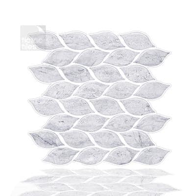 Foglia White 10 in. W x 10 in. H Light Gray Peel and Stick Decorative Mosaic Wall Tile Backsplash (6-Tiles)