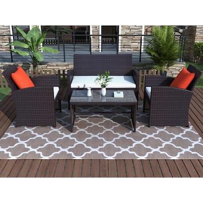 Harper & Bright Designs Brown 4-Piece Wicker Patio Conversation Set w/ White and Red Cushions