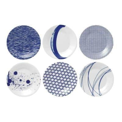 Pacific Mixed Patterns Blue and White Porcelain Tapas Plates (Set of 6)