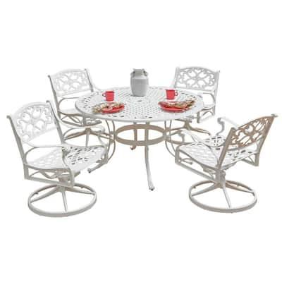 Biscayne 48 in. White 5-Piece Round Swivel Patio Dining Set