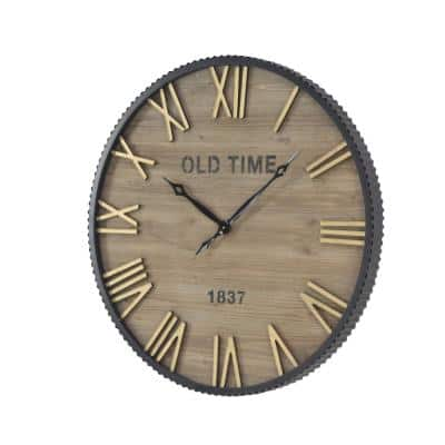 Brown Wood Farmhouse Wall Clock