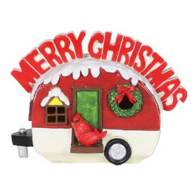 Vintage Christmas RV with Merry Christmas Sign with Timer Garden Statue