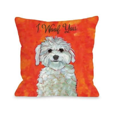 I Woof You Red Orange Graphic Polyester 16 in. x 16 in. Throw Pillow